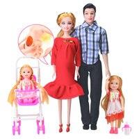 Familia 5 personas Muñecas Trajes 1 mamá/1 papá/2 Little Kelly Girl/1 bebé Hijo/ 1 bebé embarazada verdadera muñeca regalos para niños