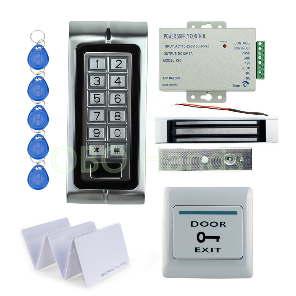 Waterproof IP68 K2 Metal keypad relay Rfid Door Access Control Kit Set With 180KG Electric magnetic+10 key cards Lock In Stock metal rfid em card reader ip68 waterproof metal standalone door lock access control system with keypad 2000 card users capacity