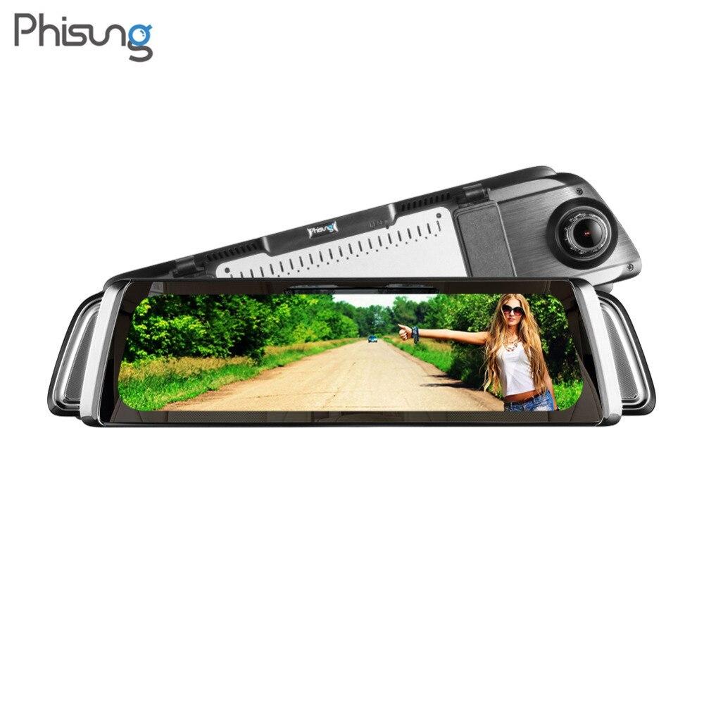 Phisung G05 9.35 LCD Android 5.0 WiFi Espelho Retrovisor Do Carro DVR Traço Cam 1080 p Full HD Câmera Dupla GPS Gravador De Vídeo Registrator