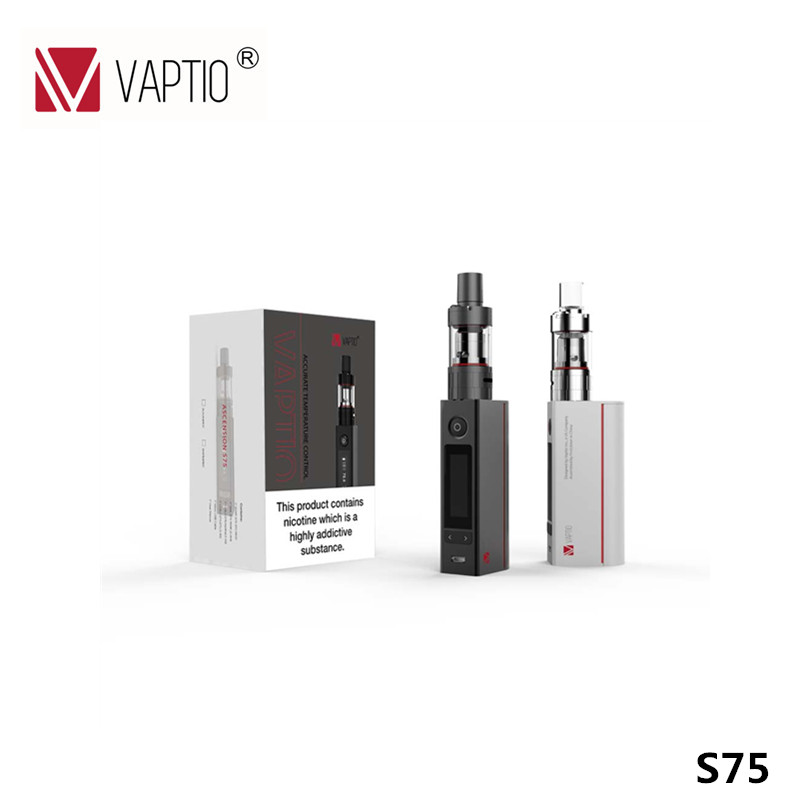 100% Original Vaptio S75 E cigarette vape kit 1-75W mechanical Mod with 3.0ml capacity tank 18650 battery (not include) 75W ecig original yuntwo ice fresh cool orange vape juice for e cigarette
