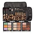 Newest 6 Color makeup Contur Conealer palette 12pcs Leopard Bamboo Handle Brushes Cosmeitc Tool Makeup Set Kit