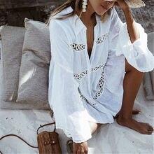 Для женщин Купальник Cover Ups мандарин рукав кафтан пляжное платье-туника халат De Plage твердого белого хлопка парео Пляж Засыпать