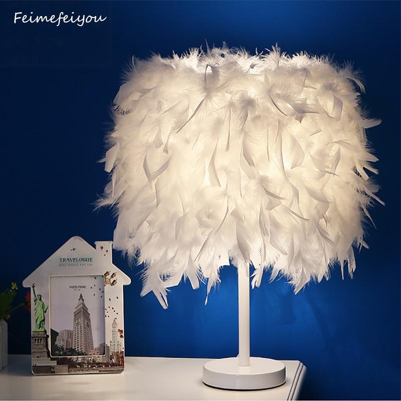 Feimefeiyou Moderne Kreative Feder Lampe E27 Tischlampe Für Baby Kinder  Kinder Schlafzimmer Droplight Beleuchtung Decor Kleine Größe