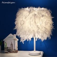 Feimefeiyou nowoczesna kreatywna lampa piórkowa e27 lampa stołowa dla dziecka dzieci dzieci sypialnia Droplight oświetlenie wystrój mały rozmiar