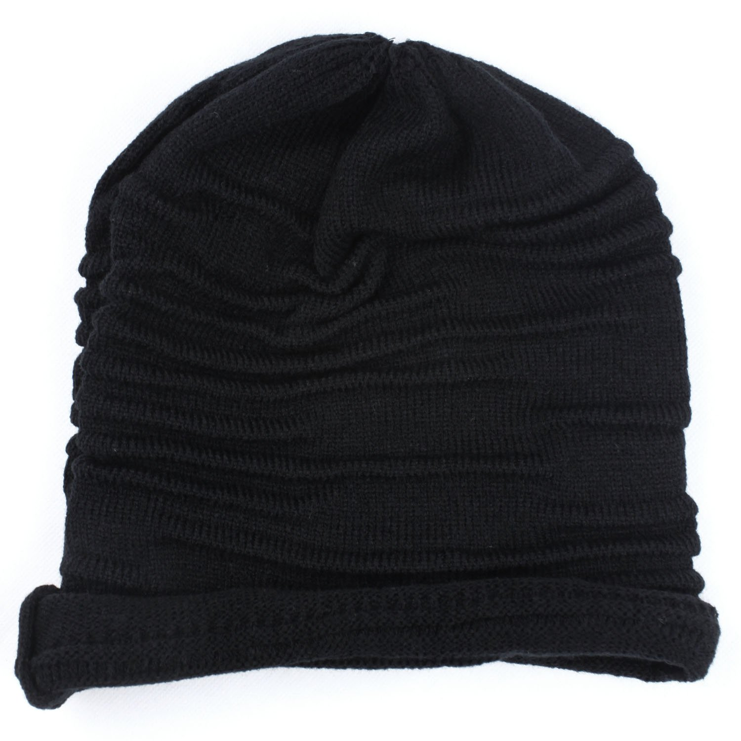 Winter Unisex Plicate Baggy Beanie Knit Crochet Ski Hat Oversized Slouch Cap Black купить