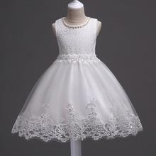 2-10Years Formal Kinder Kleidung Sommer Kleid Abend Party Bithday Spitze Prinzessin Kostüm Schönheit Tolddler Mädchen Kleid Weiß Rosa