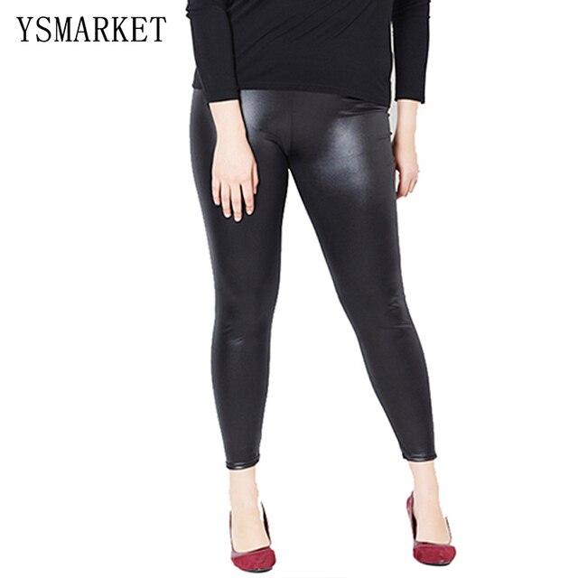 b8d9079110d New Women High Elastic Sexy Faux Leather Leggings Large Size 5XL Imitation  Leather Pants Skinny Shiny Black Plus Leggings R9FP