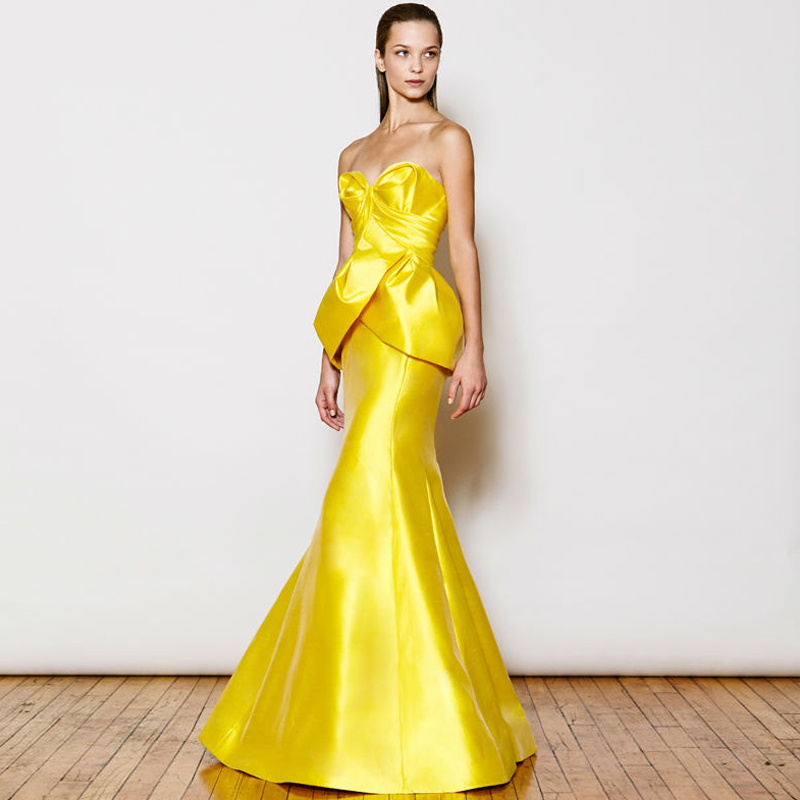 Yellow Satin Prom Dress_Prom Dresses_dressesss