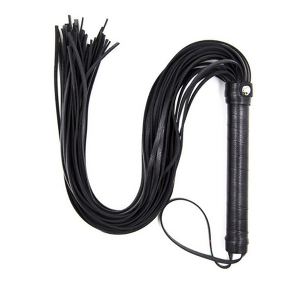 48cm PU Leather Whip With Lashing Handle Spanking Paddle Scattered Whip Knout Flirting Erotic Sex Toys For SM Adult Games
