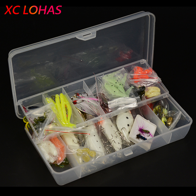 101 Pcs/Set Fishing Tackle Set with Soft Worm Lures+Metal Spinner Spoon Lures+Night Fishing Lures+Fishhooks+Connectors+Sinkers