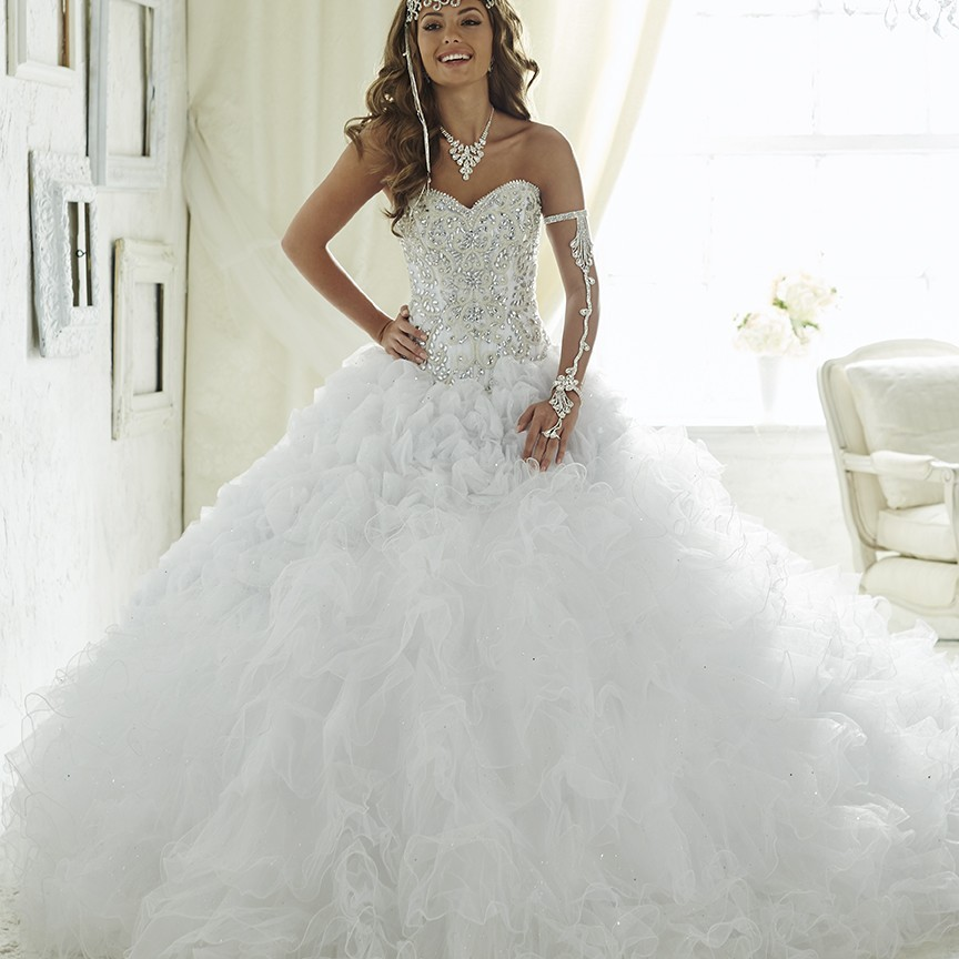 15 Luxury Wedding Gowns Under 5000: Luxury Embroidery Champagne White Quinceanera Dresses
