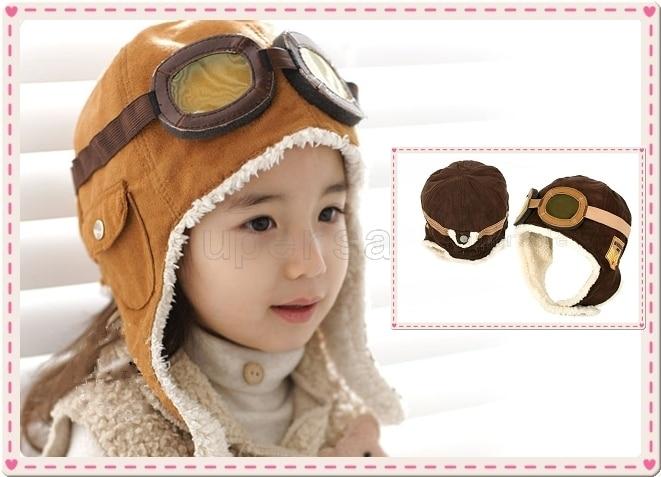 new cute baby toddler boy girl kids pilot aviator cap warm hats