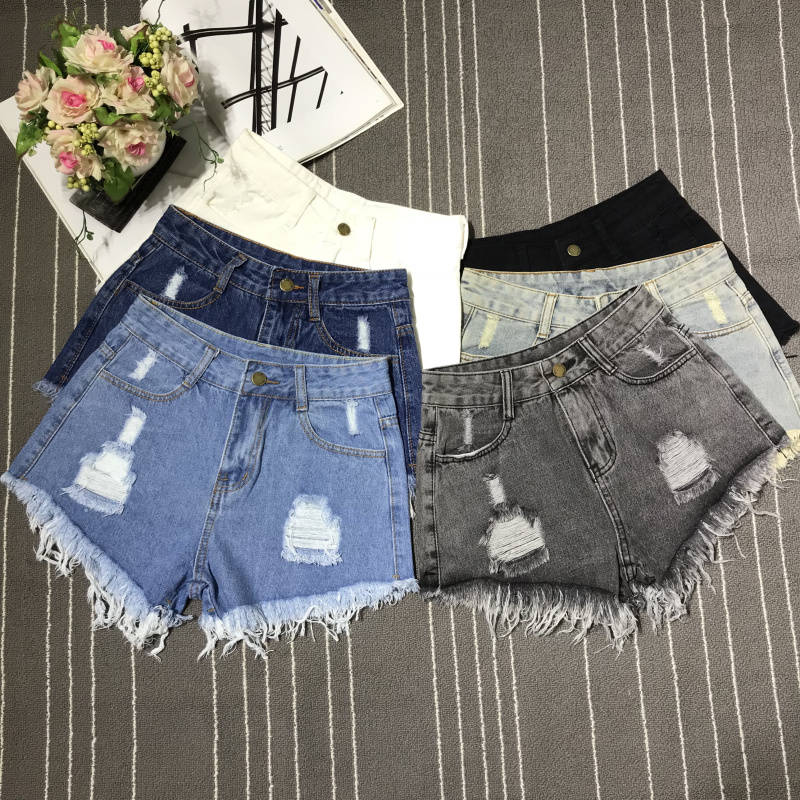 2019 Denim   Shorts   Fashion Womens Tassel Hole High Waist Summer   Short   Jeans Two Holes   Shorts   Female With S To 6XL Plus Size Z401