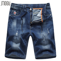 MOGU Elastic Waist Denim Shorts For Men 2017 Summer New Fashion Hole Shorts Jeans Casual Shorts