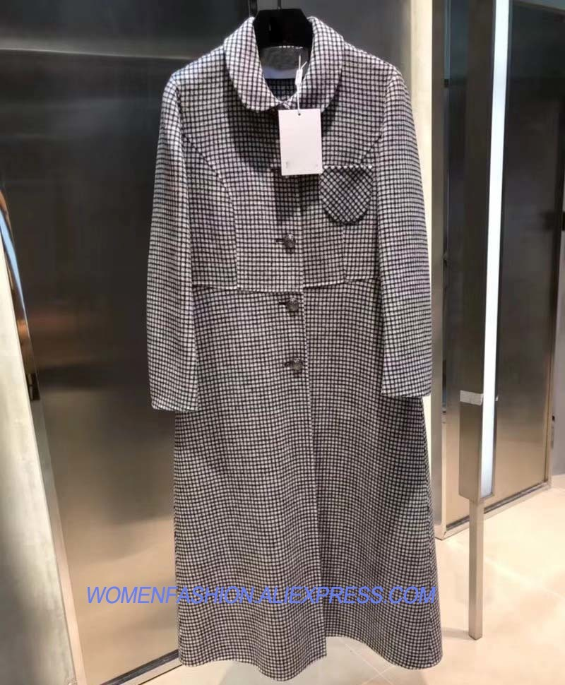 Cappotto Femminile Retro Retro Lattice Moda Donna Lungo