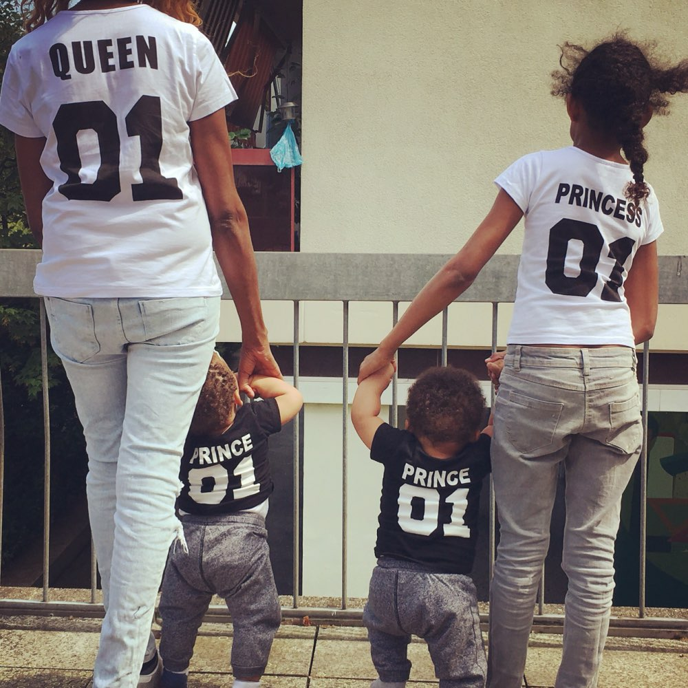 H1041 King Queen Princess Prince Family T Shirts Mother And Daughter Dad Son Letter T Shirts 01 Number Tops Tee