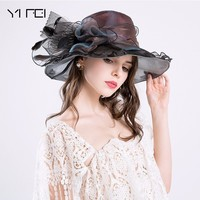 New Brand Women's Sun Hat Fashion Europe Style DIY Net Yarn Wide Brim Hat Casquette Women Hat Summer Beach Bone Caps