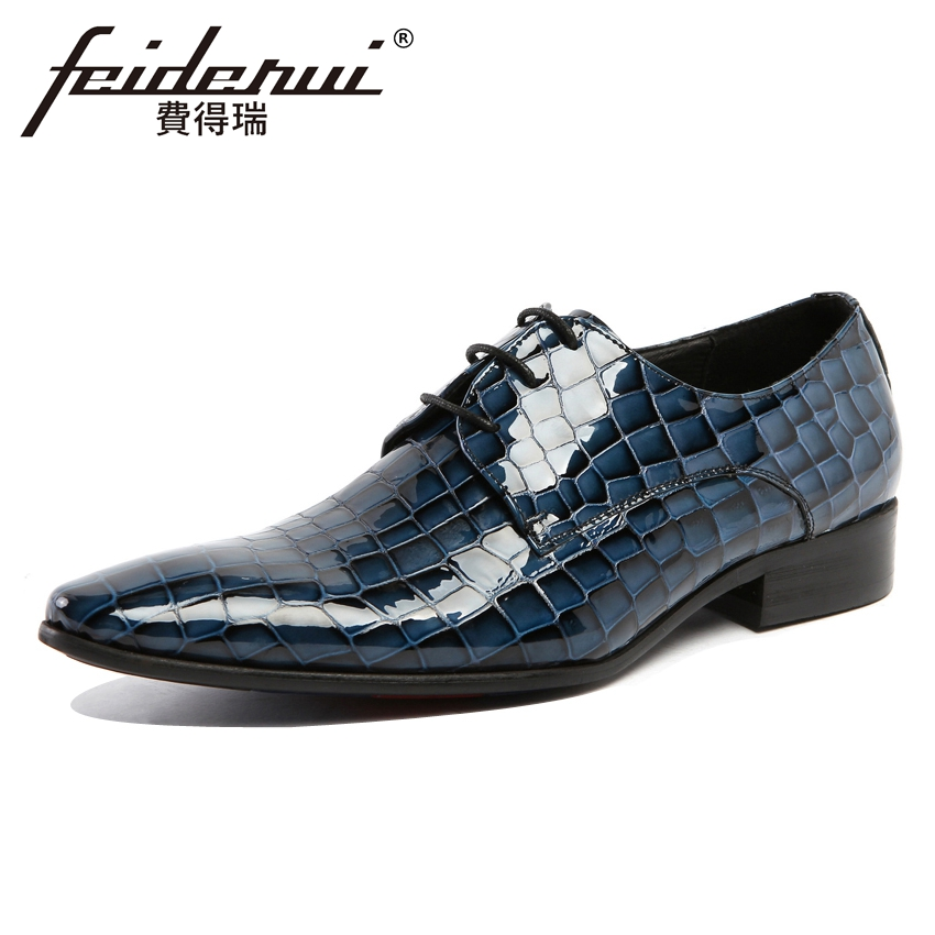 Luxury Handmade Mens Footwear Patent Leather Pointed Toe Lace-up Modern Man Flats Formal Dress Wedding Party Shoes YMX181Luxury Handmade Mens Footwear Patent Leather Pointed Toe Lace-up Modern Man Flats Formal Dress Wedding Party Shoes YMX181