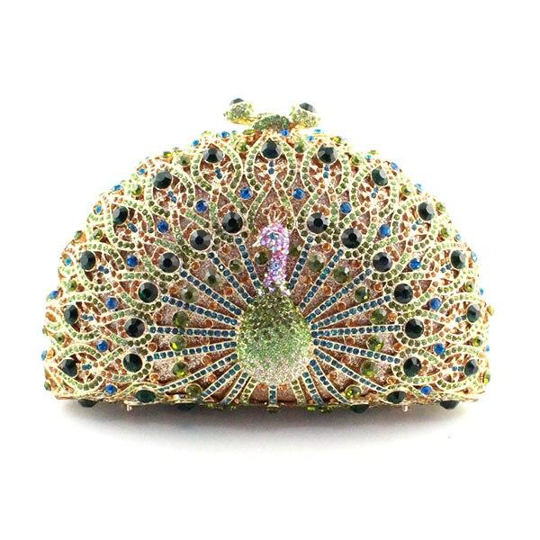 Mariée Paon En Dame Métal Cristal couleur Creux Multi D'embrayage Mode Sac De fqzTCw