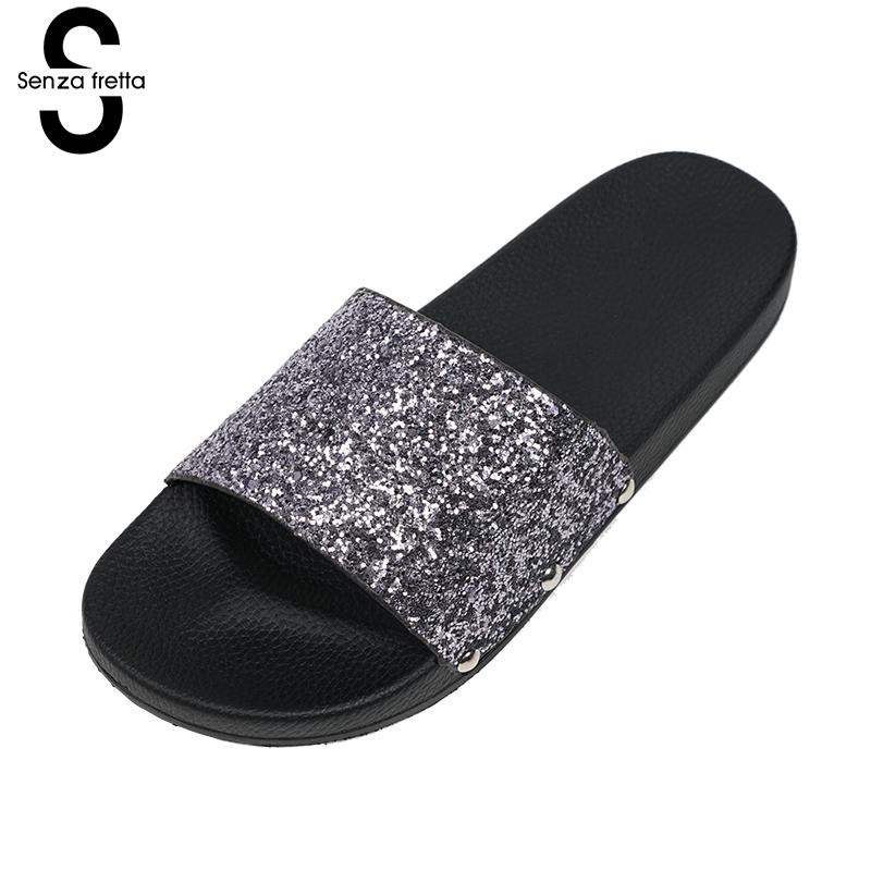Senza Fretta Women Slippers Flip Flops  Peep Toe Sandals Glitter Slippers Sandals Platform Comfortable Summer Slippers Women фоторамка senza 20х25 см хром 956444