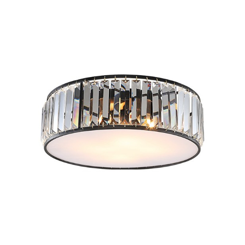 American Round Lustre K9 Crystal Acrylic Ceiling Lamp Retro Matte Metal Led Ceiling Light For Bedroom Porch Corridor