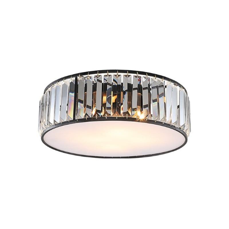 100% Waar Amerikaanse Ronde Lustre K9 Crystal Acryl Plafondlamp Retro Matte Metalen Led Plafondlamp Voor Slaapkamer Veranda Gang Aantrekkelijke Mode