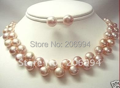 Fashion Jewelry Set Elegant Pink Freshwater Cultured Pearl Necklace Earring Free Shipping