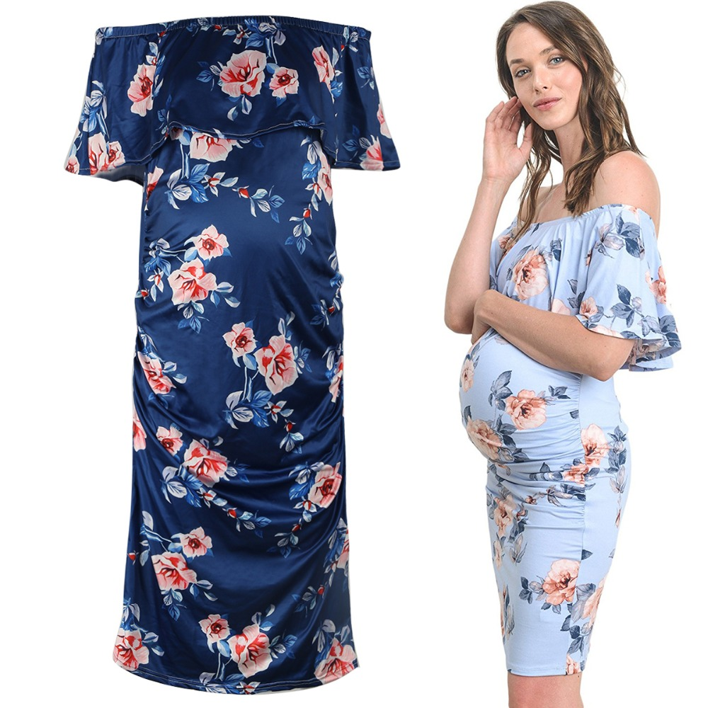 Puseky Maternity Dresses Off Shoulder Ruffles For Photo Shoot Stretch Milk Silk Pregnant Gown Jersey Pregnancy Clothes Plus Size