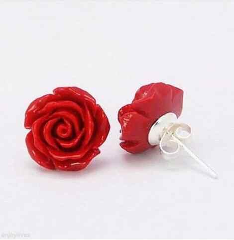 จัดส่งฟรีเลือกสีจัดส่งฟรีสีแดง Coral Rose ดอกไม้ 925 เงินสเตอร์ลิงสตั๊ดต่างหู