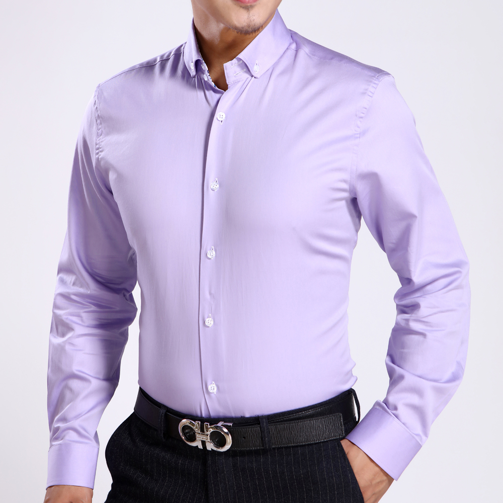 New Arrival Mens Cotton Dress Shirts Bright Purple Color Long