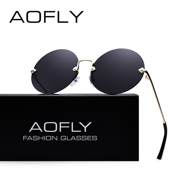 AOFLY Round Rimless Sunglasses Women Vintage Mirrored Lens UV400