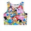 Historieta Impresa Camiseta Sin Mangas Para Mujer 2016 Nueva Primavera Mangas Crop Tops Camisetas Chaleco Femenino Sexy T2703