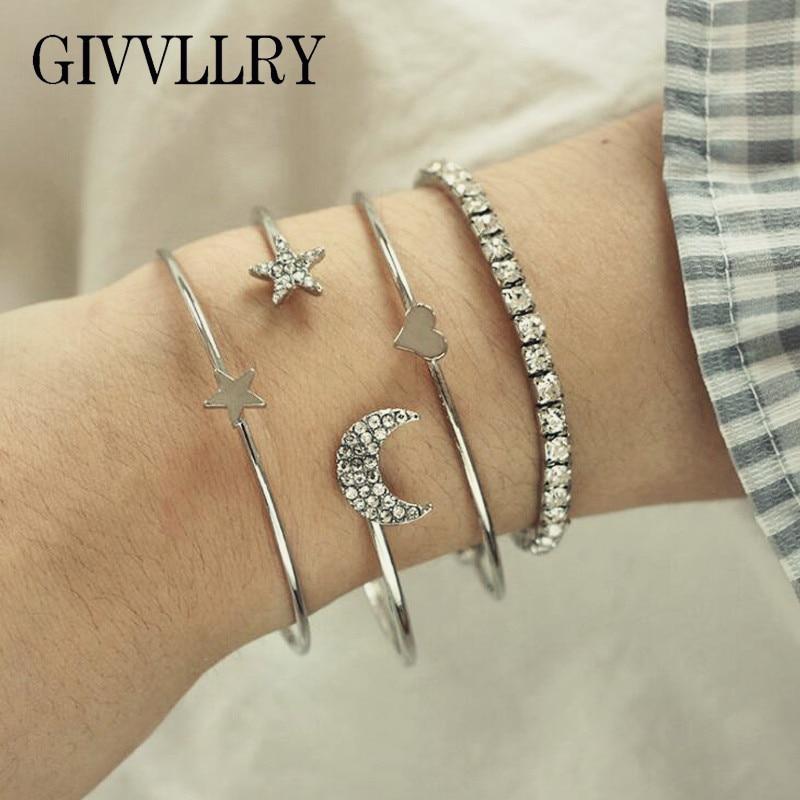 GIVVLLRY Elegant Moon Star Heart Cuff Bangles Set Fashion Jewelry Minimalist Silver Color Shiny Rhinestones Bracelets for Women