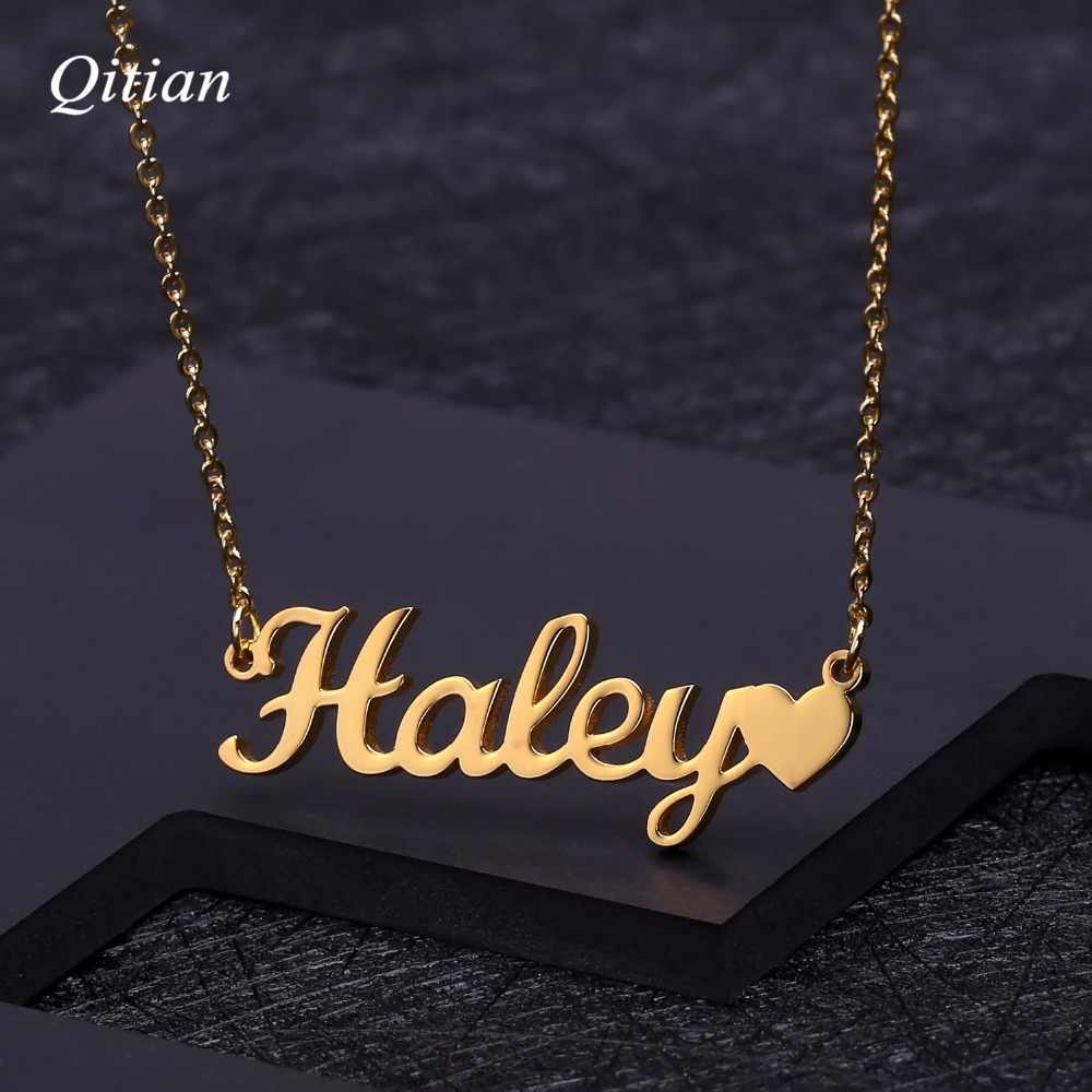 Personalized Name Necklace Stainless Steel Custom Name Pendant Cursive Nameplate Necklace Handmade Romantic Gift
