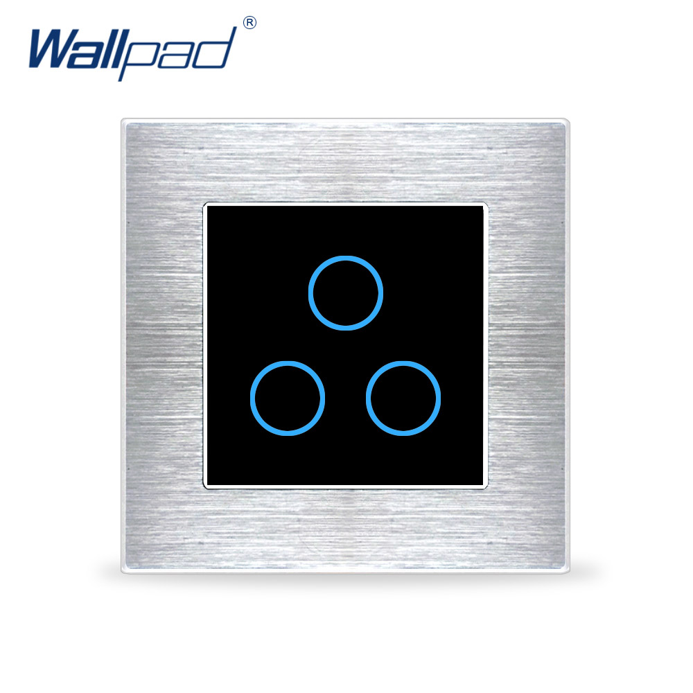 Wallpad 3 Gang 2 Way Switch Wall Touch Switch Luxury Black Crystal Glass Button Aluminium Alloy Satin Metal Panel AC 110-230VWallpad 3 Gang 2 Way Switch Wall Touch Switch Luxury Black Crystal Glass Button Aluminium Alloy Satin Metal Panel AC 110-230V