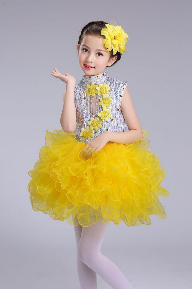 Нарядное платье принцессы для танцев для девочек; Детские бальные платья в стиле джаз и хип-хоп; бальная праздничная одежда; Одежда для девочек с блестками на Хэллоуин и Рождество - Цвет: Цвет: желтый