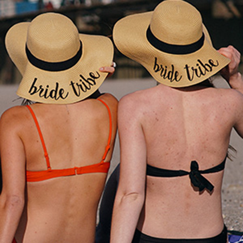 Womens Straw Hats Sun Bucket Cap With Bride To Be And Aloha Beaches Letters Hawaiian Theme Bachelorette Party Wedding Decoration in Party DIY Decorations from Home Garden