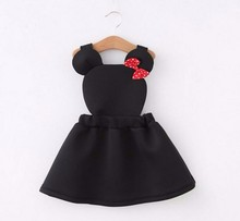 Купить с кэшбэком Infant Baby Girls Cartoon Soft Belt Minnie Dress With Bow Children Kids Princess Party Brithday Dresses Spring Summer Vestidos