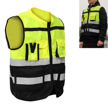 High Visibility Security Reflective Vest Pockets Design Reflective Vest Outdoor Traffic Safety Cycling Wear