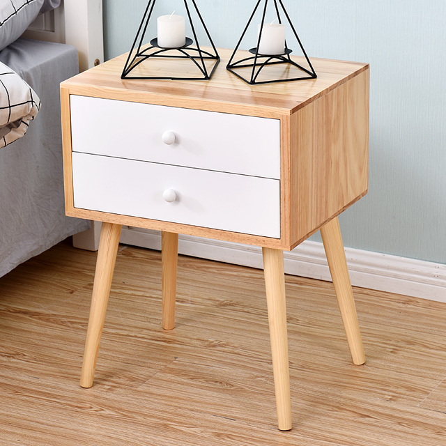 Nordic solid wood legs bedroom bedside table side Japanese style ...