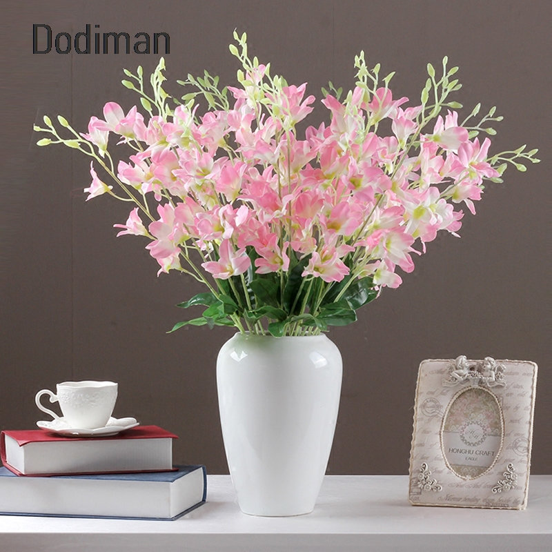 Artificial Decorations 65cm Simulation Floral Silk Flowers Cattleya Home Living Room Desktop Decoration Fake Flower For Wedding Road Led Flower 1pc We Take Customers As Our Gods