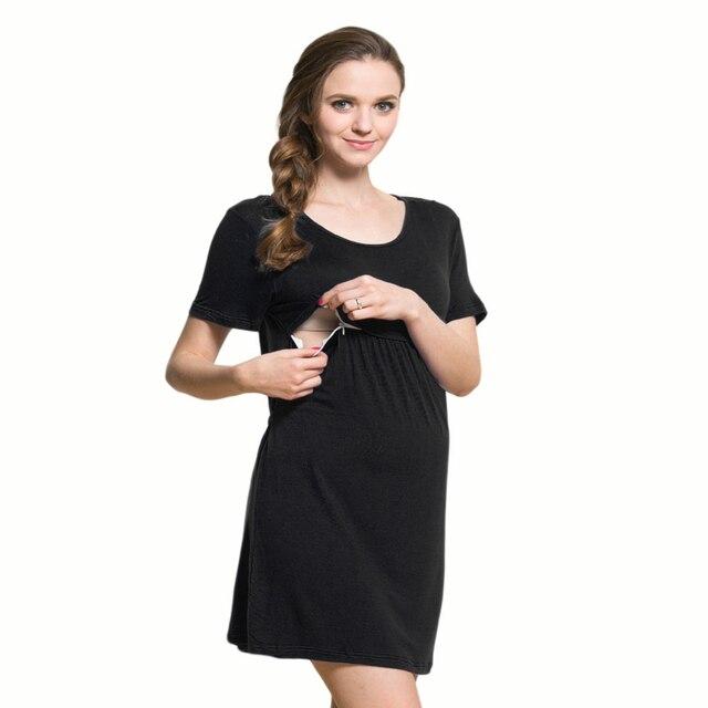 1fb4f4055 Bebé Vestidos Jersey largo negro embarazo vestidos túnicas para las mujeres embarazadas  vestido de maternidad ropa