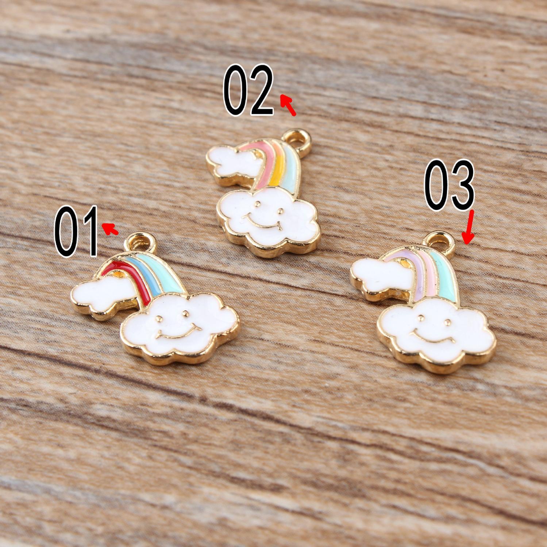 10pcs 11x17mm rainbow clouds charm enamel charm for jewelry making fashion charm earring pendant metal charm
