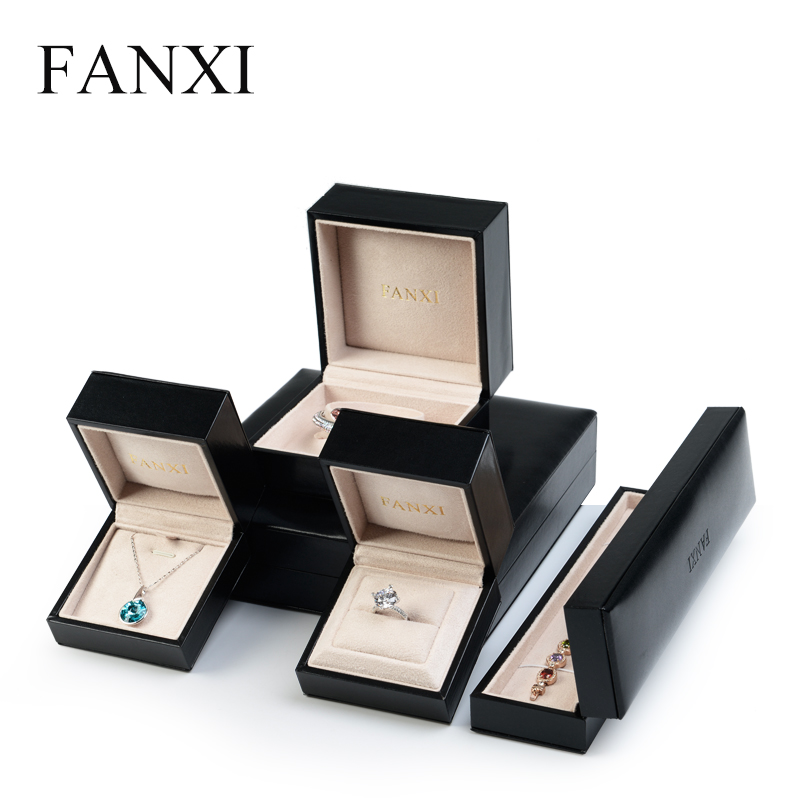FANXI  Luxury PU Leather Jewelry Box For Ring Necklace Bracelet Holder Gift Jewellery Packing Boxes Exhibition Prop