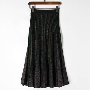 Image 4 - Elegant Pleated Skirt Women 2019 Spring Glitter Knitted Midi Skirts Women Bling A line Sweater Long Skirt Lady Retro Shiny Skirt