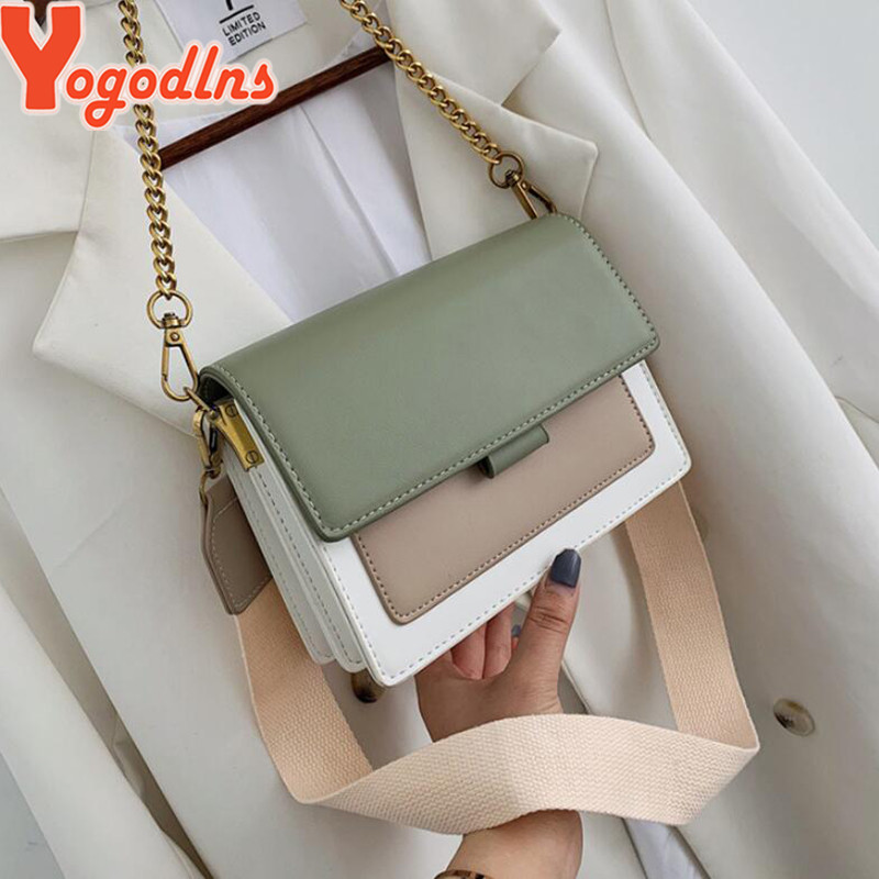 Yogodlns Contrast Color Leather Crossbody Bag For Women Travel Handbag Fashion Simple Shoulder Messenger Bag Lady Crossbody Bag