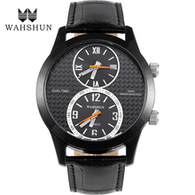 NEW IP Finished Alloy Quartz Watches Leather Strap Dual Time Display 50m Waterproof Wristwatches Male Clock Quartz-watch WS1163