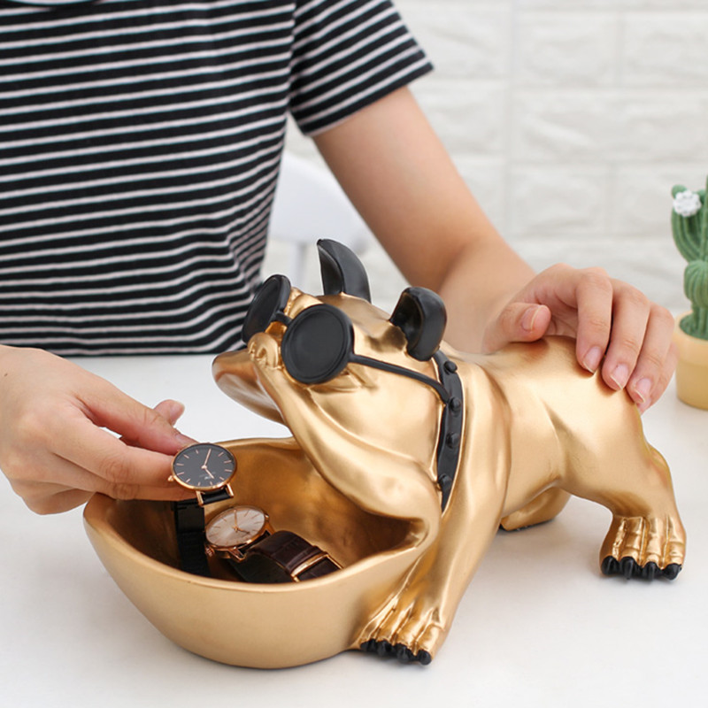 Bulldog Candy Dish Statue Lucky Dog Animal Storage Box Desk Accessories Birthday Christmas Gift L3013