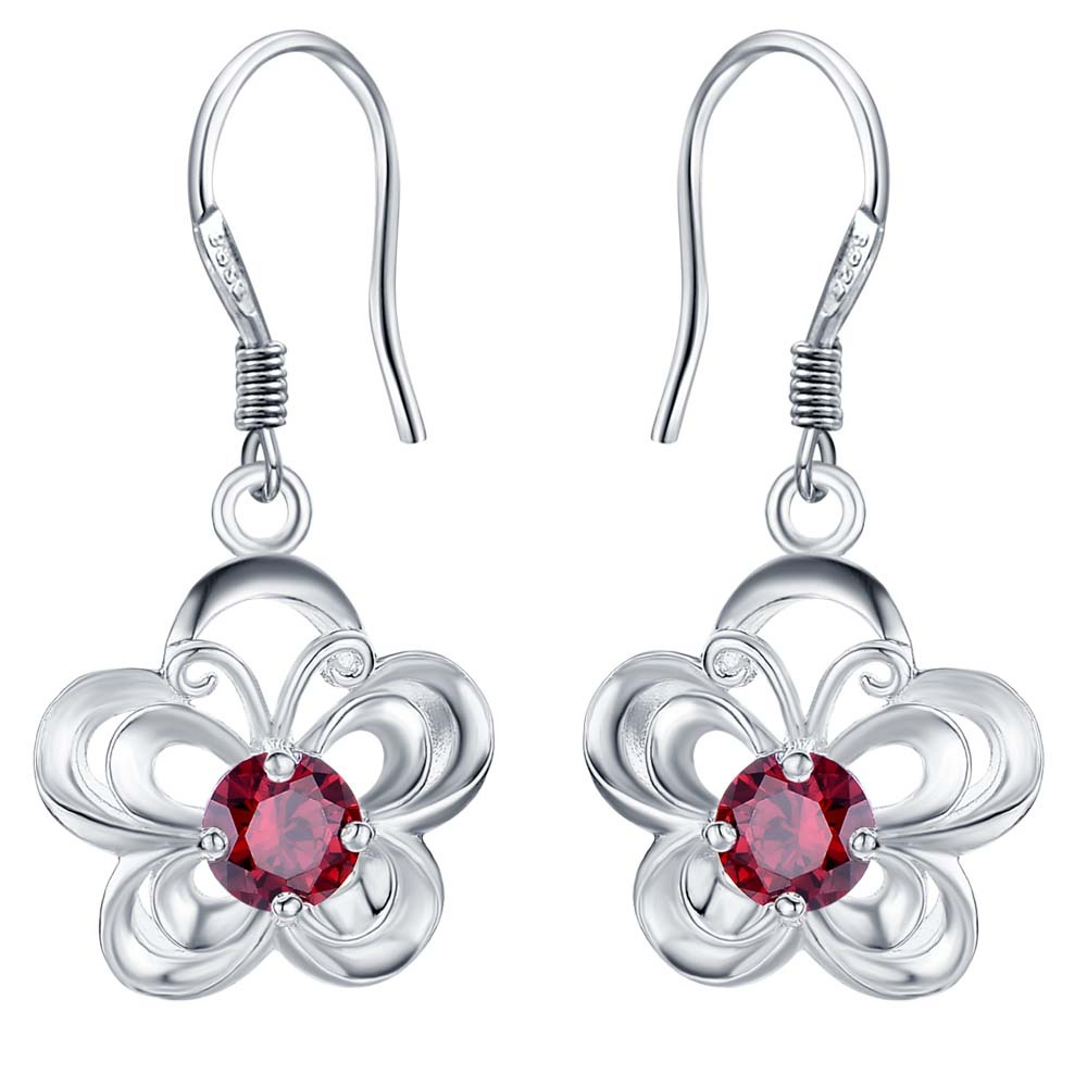 2017 Fashion Silver Jewelry Charms Costume Jewelery Earrings For Women Red  Silver Drop Earrings Accessories For