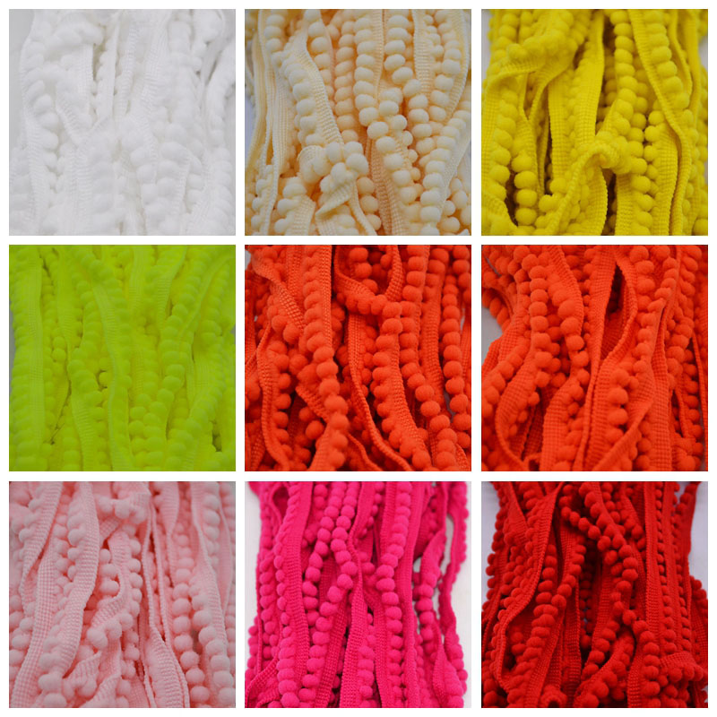 Lace Fabric 5 Yard 11mm Sewing Accessories Pompom Trim Pom Pom Decoration Tassel Ball Fringe Ribbon DIY Material Apparel